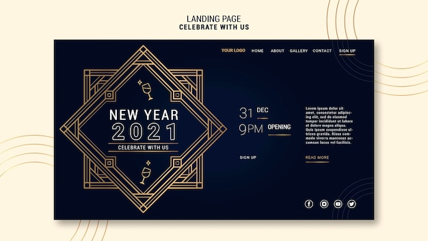새해 파티를위한 우아한 방문 페이지 템플릿