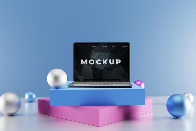 Элегантный макет ноутбука с красочным подиумом