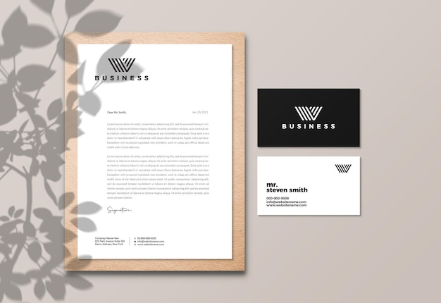 Elegant letterhead and business card mockup