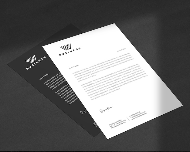 Elegant letterhead and flyer mockup