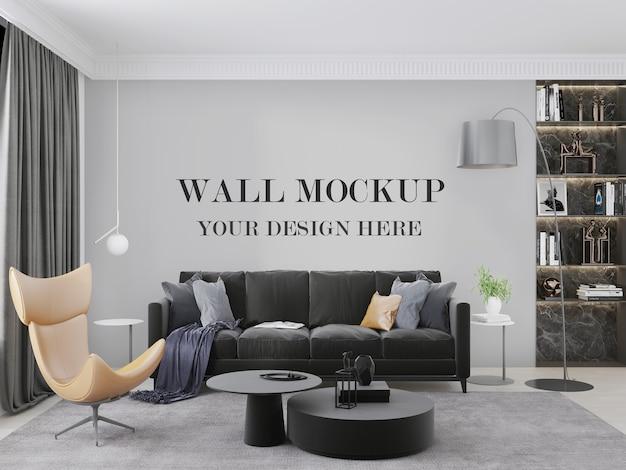Элегантный макет стены гостиной за черным диваном 3d визуализации