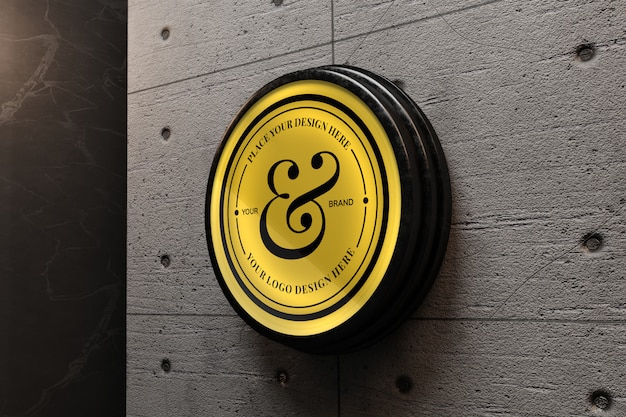 Elegant logo mockup on concrete wall
