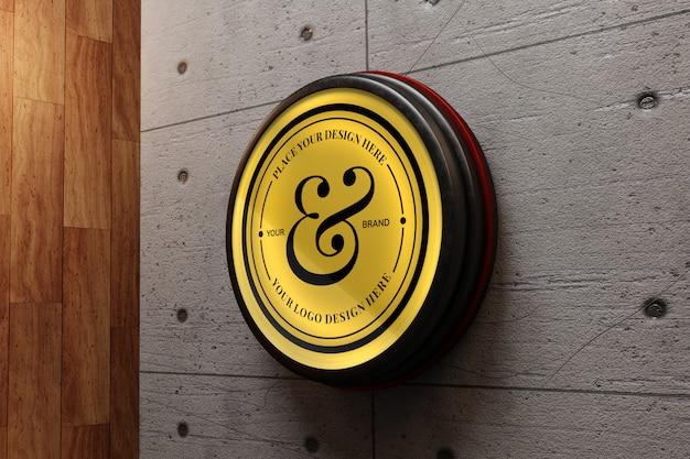 콘크리트 벽에 우아한 로고 모형