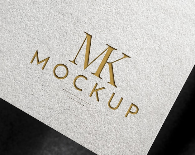 Elegant logo mockup on a white paper