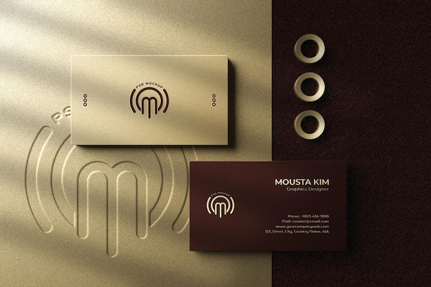 Elegant and luxury business card with letterpress logo mockup