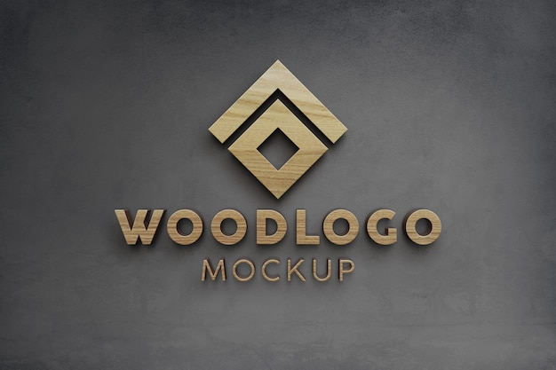 Elegant and luxury wooden 3d logo mockup on wall