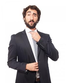 Elegant man adjusting his tie