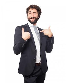 Elegant man pointing to himself
