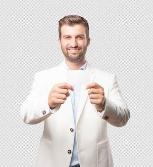 Elegant man showing business card