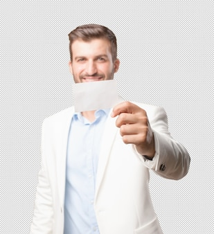 Elegant man showing business card