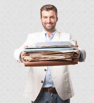 Elegant man with files