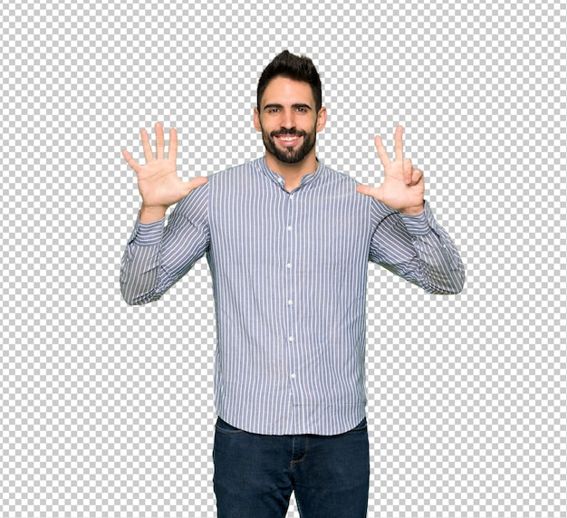 Elegant man with shirt counting eight with fingers