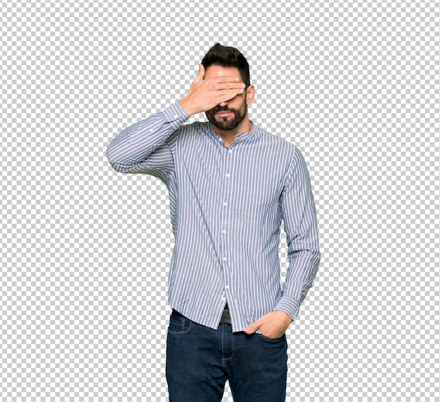 Elegant man with shirt covering eyes by hands. do not want to see something