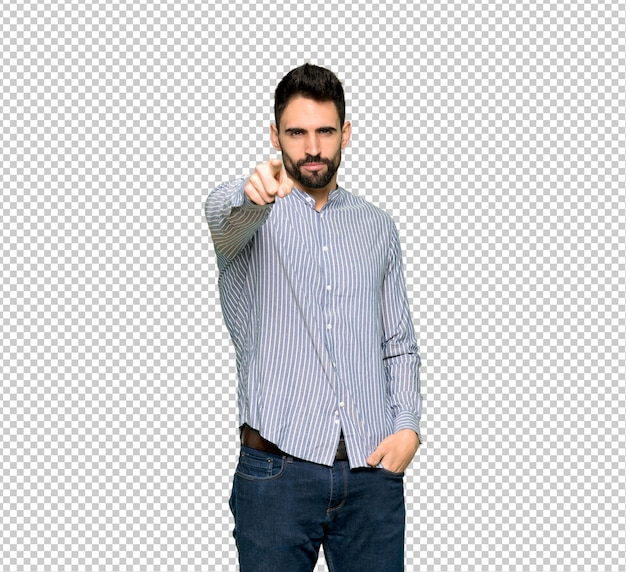 Elegant man with shirt frustrated by a bad situation and pointing to the front