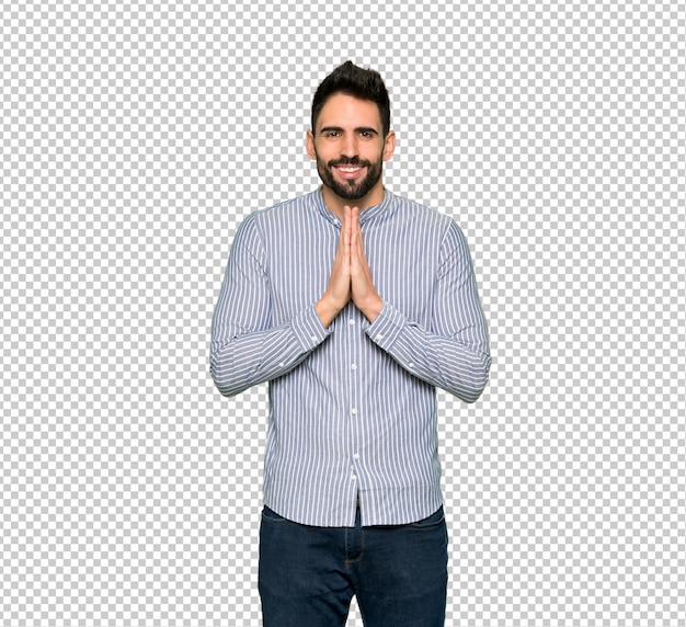 Elegant man with shirt keeps palm together. person asks for something