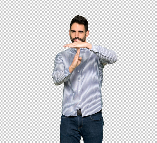 Elegant man with shirt making stop gesture with her hand to stop an act