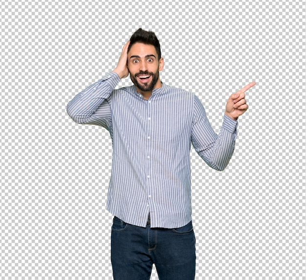 Elegant man with shirt pointing finger to the side and presenting a product