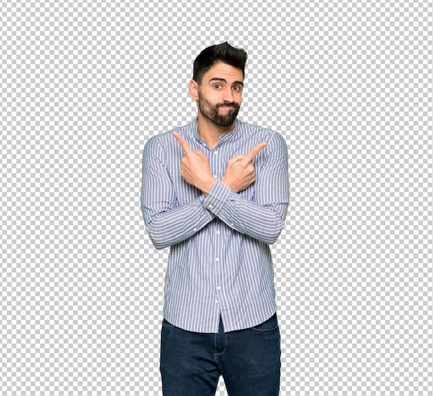 의심을 갖는 측면을 가리키는 셔츠와 우아한 남자