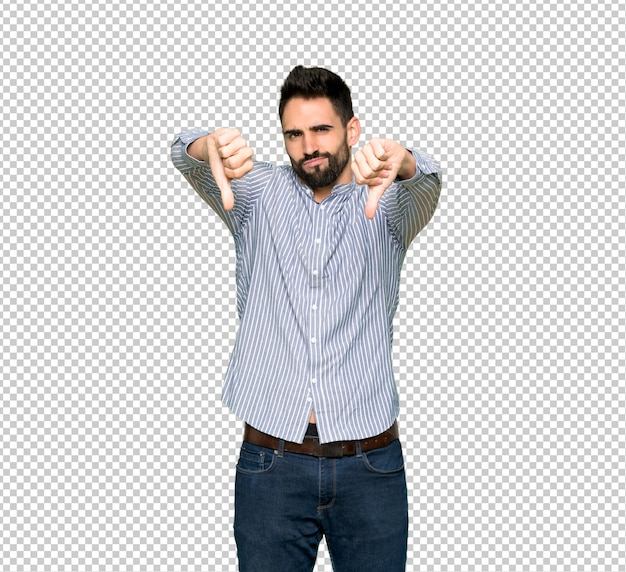 Elegant man with shirt showing thumb down with both hands