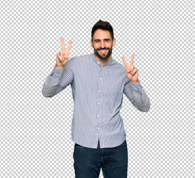 Elegant man with shirt smiling and showing victory sign with both hands