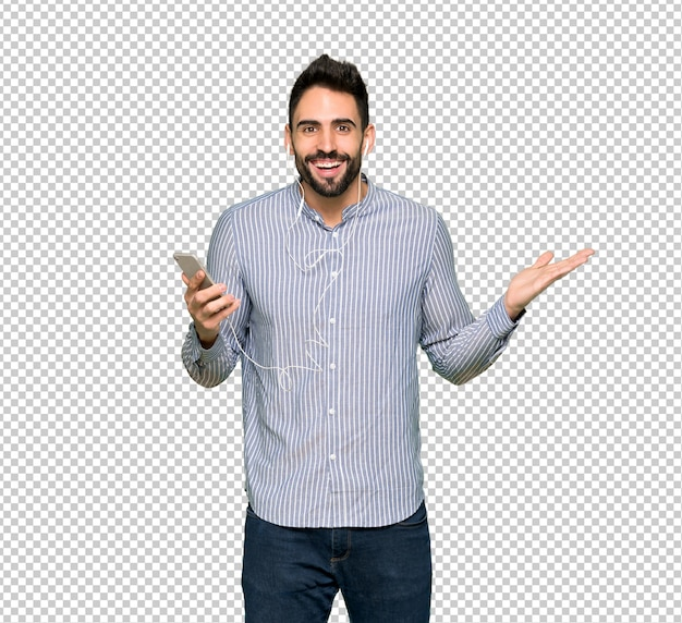 Elegant man with shirt surprised and sending a message