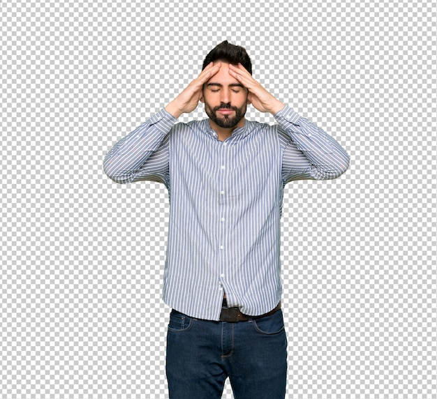 Elegant man with shirt unhappy and frustrated with something