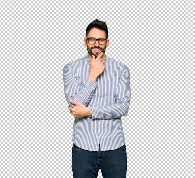 Elegant man with shirt with glasses and smiling