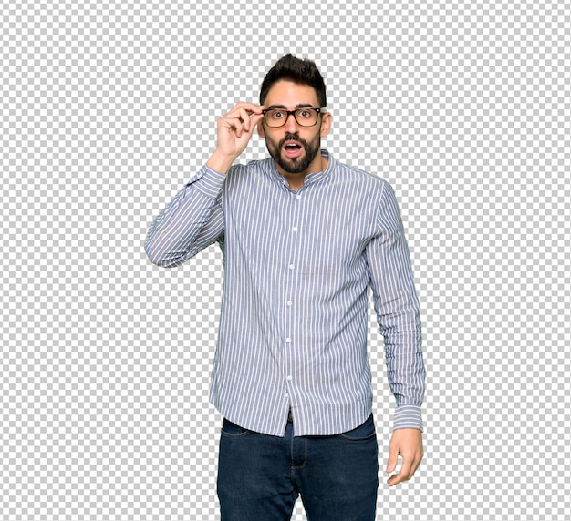 Elegant man with shirt with glasses and surprised