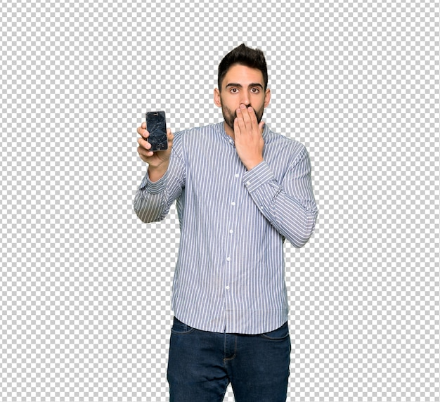 Elegant man with shirt with troubled holding broken smartphone