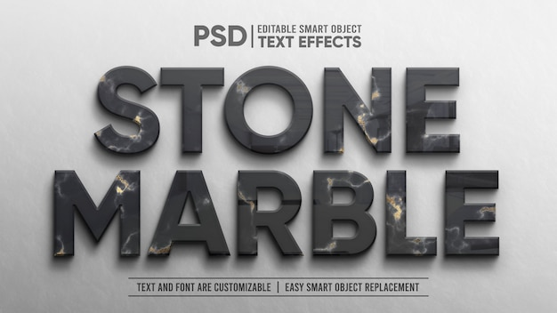 Elegant marble black gold emboss 3d reflection editable text effect mockup
