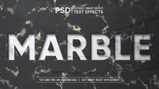 エレガントな大理石のゴールドエンボスプレス反射編集可能なテキスト効果のモックアップ Premium Psd