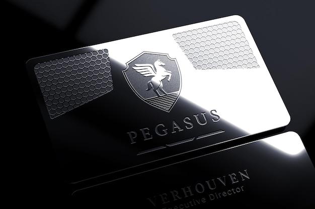 Elegant metal business card logo mockup