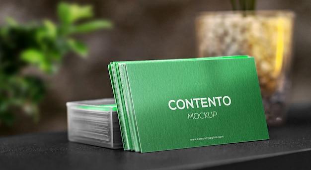 Elegant and minimal business card stack mockup premium psd