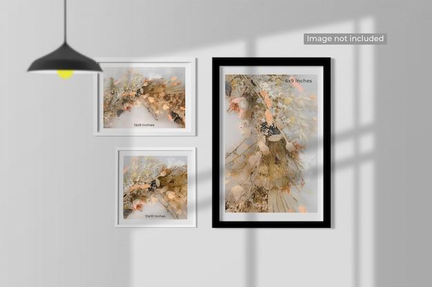 Elegant minimal frames mockup hanging on wall