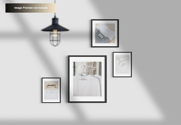 Elegant minimal photo frame mockup hanging on wall