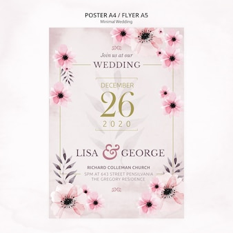 Elegant minimal wedding invitation flyer