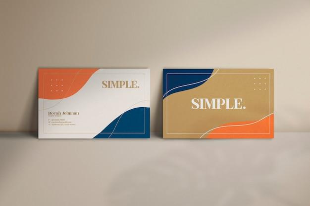 Elegant and minimalist horizontal abstract business card mockup