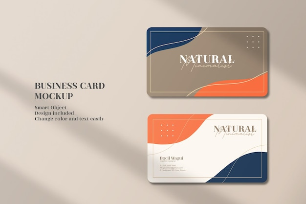 Elegant and minimalist with abstract template business card mockup
