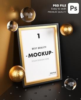 Elegant mock up poster gold frame template on corner room.