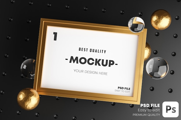 Elegant mock up poster gold frame template.