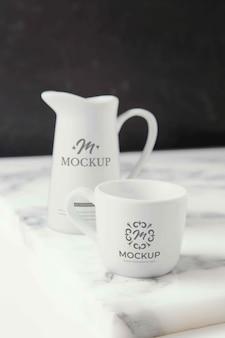 Elegant mock-up tableware arrangement