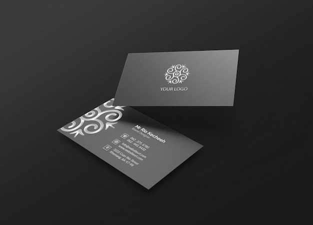 Elegant and modern business card mockup with silver logo letterpress effect