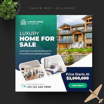 Elegant modern home real estate social insta post template set