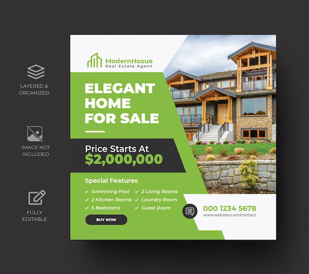 Elegant modern home real estate social media post design template