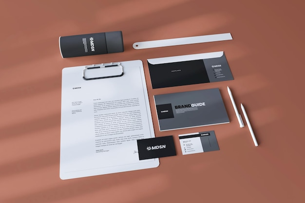 Elegant and modern stationary and business card mockup realistic 3d render