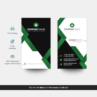 Elegant and modern vertical visiting card psd template