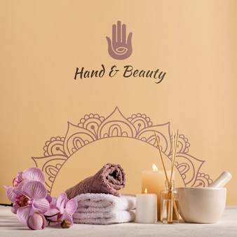 Elegant and natural pack at spa with products