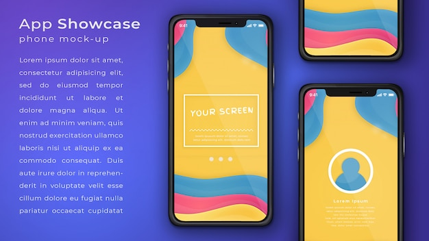 Elegant phone application mock up display