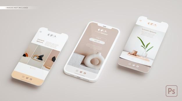 Elegant phone mockup and two screens floating in 3d rendering. ui ux app concept