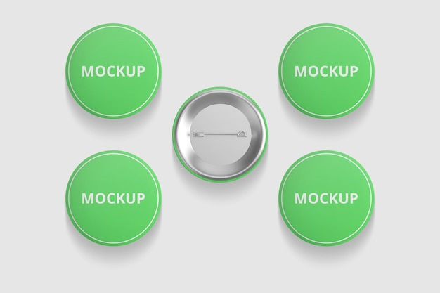 Elegant pin or button badge mockup for merchandise